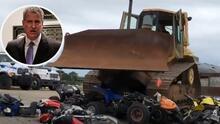 (VIDEO) Ciudad de Nueva York televisa la destrucción vehículos ilegales confiscados por las autoridades