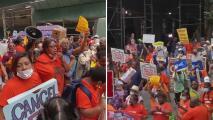 """""""Sabemos qué el dinero está"""": Inquilinos protestan a favor de extender la moratoria de desalojos en Nueva York"""