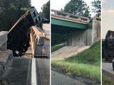 Camión se estrella contra un puente en Georgia y los desplaza seis pies