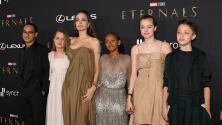 Angelina Jolie causó sensación al llegar con 5 de sus hijos a la premiere de la cinta 'Eternals'
