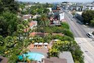 View on on the pool and bungalow area and Sunset strip from Chateau Marmont penthouse, August 20, 2020, in West Hollywood, California. - For nearly a century Chateau Marmont has been an adopted home and playground for Hollywood's elite, hosting sophisticated silent-era icons and discreetly accommodating the raucous antics of Brat Pack celebrities. Later this year, it will become a member-owned hotel, offering dedicated domestic staff, private dining and long-term personal belongings storage to an invitation-only, financial-stake-owning inner sanctum. (Photo by VALERIE MACON / AFP) (Photo by VALERIE MACON/AFP via Getty Images)