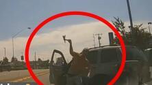 Conductor de camioneta le lanza un hacha al vidrio de otro auto