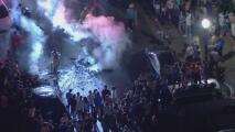 Masiva celebración por victoria de los UCLA Bruins en Westwood se sale de control