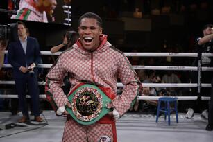 Devin Haney poses for photographs after a WBC interim world lightweight championship boxing match against Russia's Zaur Abdullaev Friday, Sept. 13, 2019, in New York. Haney stopped Abdullaev in the fourth round.(AP Photo/Frank Franklin II)
