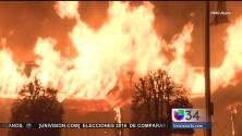 Incendio deja totalmente destruido un edificio comercial en Covina
