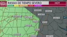 Pronostican una tarde de lluvias y tormentas en Carolina del Norte con vientos de 58 mph