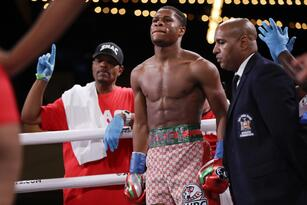 Devin Haney waits to be announced for a WBC interim world lightweight championship boxing match against Russia's Zaur Abdullaev Friday, Sept. 13, 2019, in New York. Haney stopped Abdullaev in the fourth round.(AP Photo/Frank Franklin II)