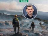 Iker Casillas ayuda en las labores de extinción de incendio en Navalacruz