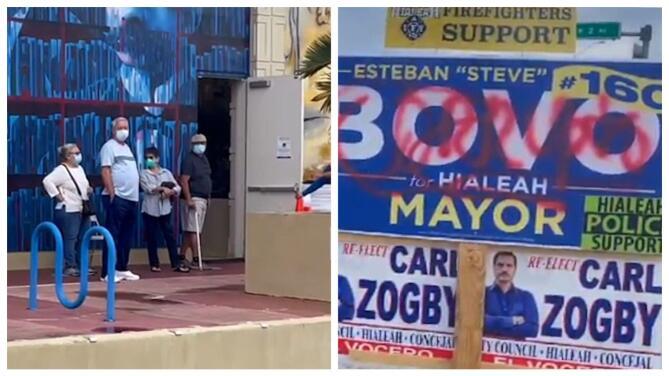 Inicia la votación anticipada en Hialeah: vandalizan carteles de la campaña electoral