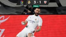Con un doblete, Benzema le da el triunfo al Real Madrid