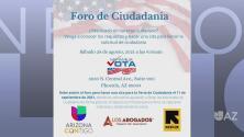 Mi Familia Vota te invitan a su Foro de Ciudadanía este fin de semana en Phoenix