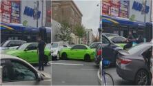 Conductor intenta escapar de una persecución: choca autos y se sube a la acera