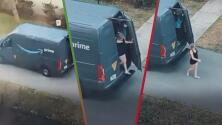 Sexo en el trabajo: Graban a mujer bajando sospechosamente de la parte de atrás de una camioneta de paquetería