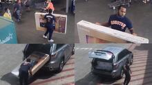 Roban pantallas gigantes frente a varios empleados de un Wal-Mart en Houston