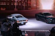 """The new 2019 Mustang BULLITT shares the Ford stage at the North American International Auto Show with the original 1968 Mustang GT driven by legend Steve McQueen during filming on the movie """"Bullitt."""""""