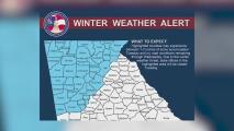 Al menos 39 condados de Georgia permanecen en alerta ante la llegada de una tormenta de nieve