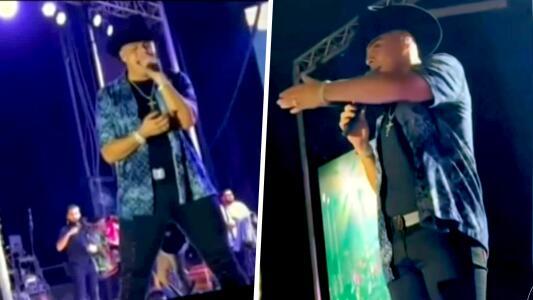 Vocalista de Firme reacciona molesto y pide saquen a un fan que le lanzó cerveza al escenario