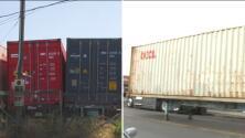 Habitantes de zonas aledañas a los puertos de Los Ángeles denuncian verse afectados por decenas de contenedores en sus calles