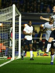 BIRMINGHAM, ENGLAND - FEBRUARY 12: Callum Connolly of Bolton Wanderers celebrates after scoring the first goal during the Sky Bet Championship match between Birmingham City and Bolton Wanderers at St Andrew's Trillion Trophy Stadium on February 12, 2019 in Birmingham, England. (Photo by David Rogers/Getty Images)