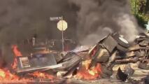 Camión de helados termina en llamas tras accidente y cobra la vida de dos personas en Los Ángeles