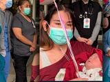 Madre de California que conoció a su hija un mes después de dar a luz por culpa del coronavirus, fue dada de alta