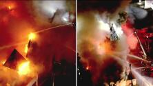 Una iglesia construida hace 108 años es consumida por un incendio en Los Ángeles este viernes