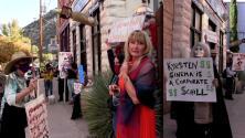 Protestan contra Sinema mientras oficiaba una boda en Arizona