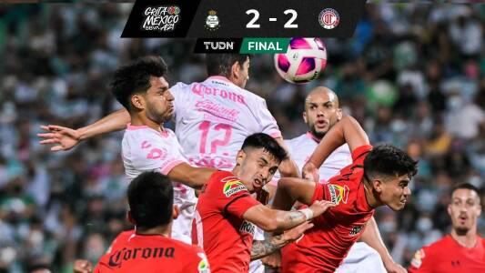 Santos empata de último minuto a Toluca que complica su pase directo