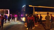 Balacean autobús del Carabobo FC de la liga venezolana
