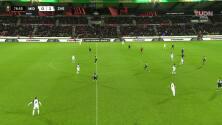 ¡GOL!  anota para FC Midtjylland. Nikolas Dyhr
