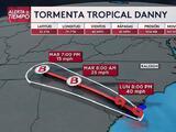 Tormenta tropical Danny se fortalece mientras se acerca a la costa de Carolina del Sur