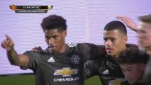 ¡De crack! Marcus Rashford pone el 0-1 para Manchester United