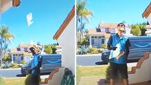 Paquete de Amazon termina en el techo de una casa en California (por un curioso accidente)