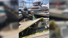 Isaías: Cientos de botes chocan entre sí en una marina de Carolina del Norte