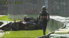 Pastor Maldonado choca en la salida del GP de Australia