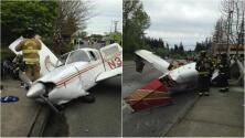 Conductores grabaron la caída de una avioneta en plena calle de Mukilteo, Washington