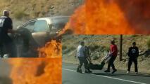 Arriesgaron su vida para salvar a una pareja de ancianos de auto en llamas