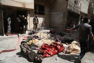 DAMASCUS, SYRIA - APRIL 08: (EDITOR'S NOTE: Image depicts death) Dead bodies of Syrians are seen after Assad regime forces allegedly conducted poisonous gas attack to Douma town of Eastern Ghouta in Damascus, Syria on April 08, 2018. At least 78 civilians dead, including women and children, according to the initial findings. (Photo by Halil el-Abdullah/Anadolu Agency/Getty Images)
