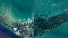 Imágenes satelitales muestran el antes y después del paso del huracán Dorian por Gran Bahama
