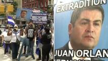 """""""Es un delincuente"""": hondureños protestan por la presencia del presidente Juan Hernández ante la ONU"""