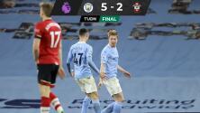 Manchester City goleó al Southampton y sigue de lider