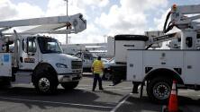 Una caravana de camiones de electricidad va hacia Florida para emergencias por efectos de Dorian