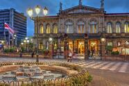 San Jose, Costa Rica - January 18, 2015: Night scene of the square in front of the National Theatre of Costa Rica in San Jose at twilight time.