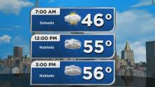 Cielo mayormente nublado y probabilidad de lluvia para este lunes en Nueva York