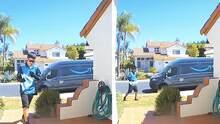 Entrega de paquete de Amazon termina accidentalmente en el techo de una casa en California