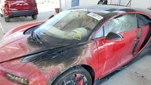 En imágenes: A la venta el Bugatti Chiron quemado de El Alfa