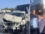 Mujer queda atrapada entre dos carros que chocan de frente en Miami