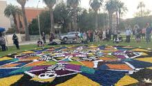 Con una colorida alfombra gigante desplegada en el corazón de la UA celebran el Día de los Muertos