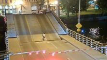 Un puente levadizo casi aplasta a una ciclista que ignoró las señales
