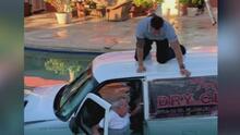 """""""Estoy hecho leña"""": un anciano se enredó manejando su carro y terminó dentro de una piscina"""